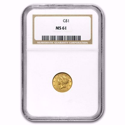 Picture of $1 Liberty Head Gold Type 1 (1849-1854) PCGS/NGC MS61 (Random Year)