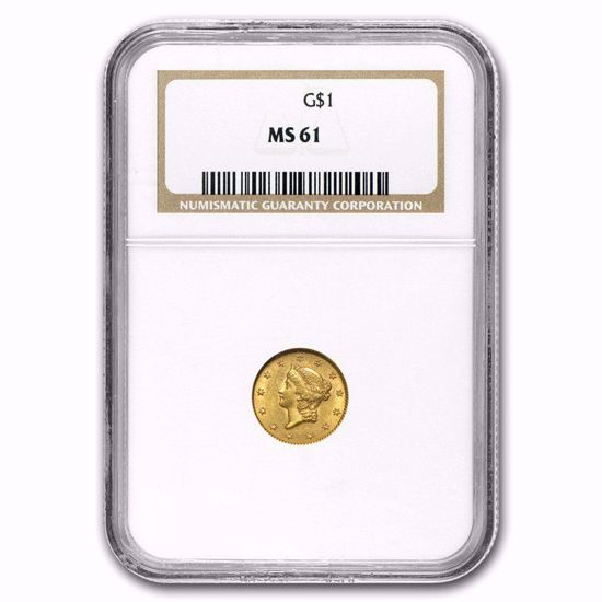 Picture of (1849-1854) $1 Liberty Head Gold Type 1 PCGS/NGC MS61 (Random Year)