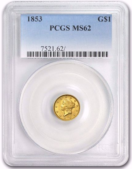 Picture of (1849-1854) $1 Liberty Head Gold Type 1 PCGS/NGC MS62 (Random Year)