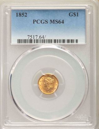 Picture of (1849-1854) $1 Liberty Head Gold Type 1 PCGS/NGC MS64 (Random Year)