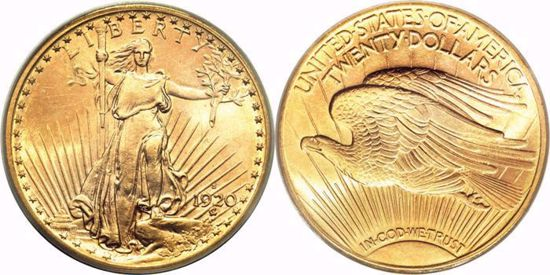 Picture of $20 Gold St. Gaudens BU (1907-1933) (Random Year)