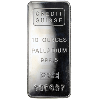Picture of 10 oz Credit Suisse Palladium Bars