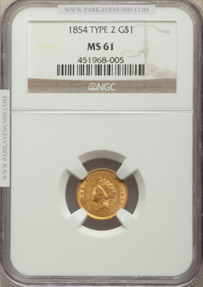 Picture of $1 Indian Head Gold Type 2 (1854-1856) PCGS/NGC MS61 (Random Year)