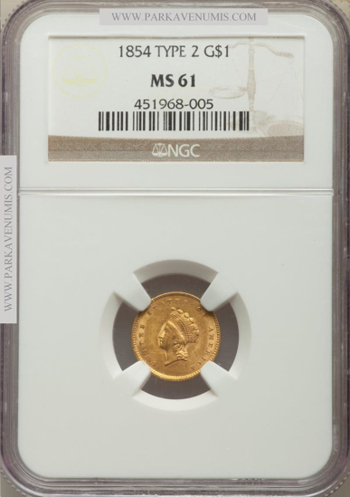 Picture of (1854-1856) $1 Indian Head Gold Type 2 PCGS/NGC MS61 (Random Year)