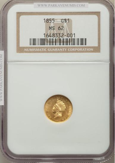 Picture of (1854-1856) $1 Indian Head Gold Type 2 PCGS/NGC MS62 (Random Year)