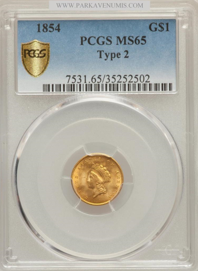 Picture of (1854-1856) $1 Indian Head Gold Type 2 PCGS/NGC MS65 (Random Year)