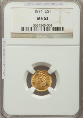 Picture of $1 Indian Head Gold Type 3 (1856-1889) PCGS/NGC MS63 (Random Year)