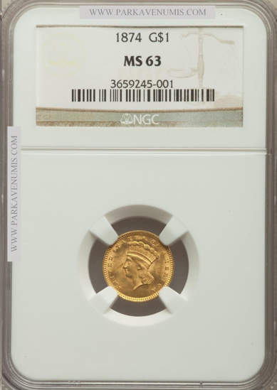 Picture of (1856-1889) $1 Indian Head Gold Type 3 PCGS/NGC MS63 (Random Year)