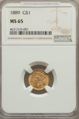 Picture of $1 Indian Head Gold Type 3 (1856-1889) PCGS/NGC MS65 (Random Year)