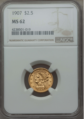 Picture of $2.50 Liberty Gold (1840-1907) PCGS/NGC MS62 (Random Year)