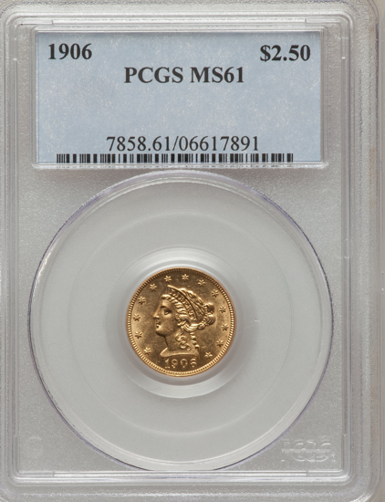 Picture of (1840-1907) $2.50 Liberty Gold PCGS/NGC MS61 (Random Year)