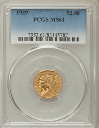 Picture of (1908-1929) $2.50 Indian Gold PCGS/NGC MS61 (Random Year)