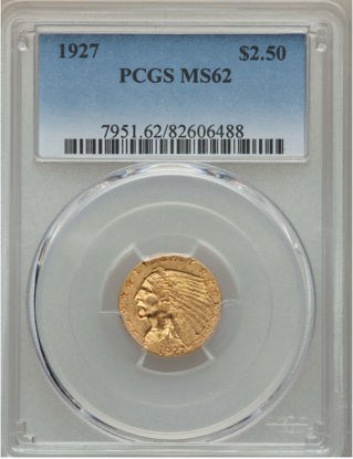 Picture of (1908-1929) $2.50 Indian Gold PCGS/NGC MS62 (Random Year)