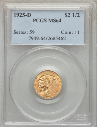 Picture of (1908-1929) $2.50 Indian Gold PCGS/NGC MS64 (Random Year)