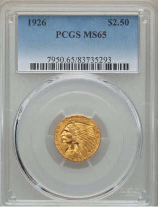 Picture of (1908-1929) $2.50 Indian Gold PCGS/NGC MS65 (Random Year)