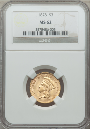 Picture of (1854-1889) $3 Gold Princess PCGS/NGC MS62 (Random Year)
