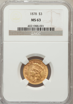 Picture of (1854-1889) $3 Gold Princess PCGS/NGC MS63 (Random Year)