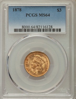 Picture of (1854-1889) $3 Gold Princess PCGS/NGC MS64 (Random Year)