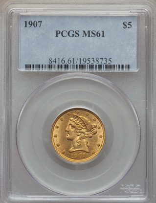 Picture of $5 Liberty Gold (1839-1908) PCGS/NGC MS61 (Random Year)