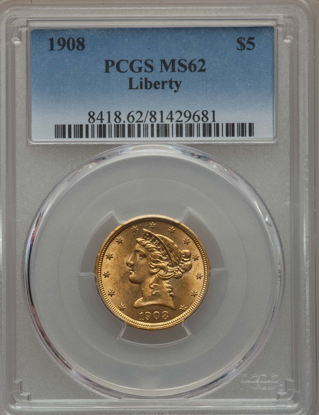 Picture of $5 Liberty Gold (1839-1908) PCGS/NGC MS62 (Random Year)