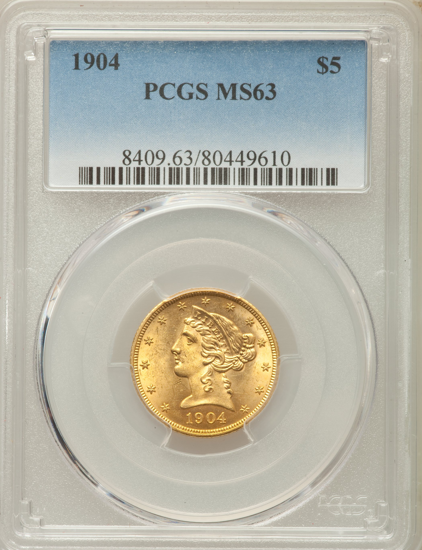 Picture of (1839-1908) $5 Liberty Gold PCGS/NGC MS63 (Random Year)