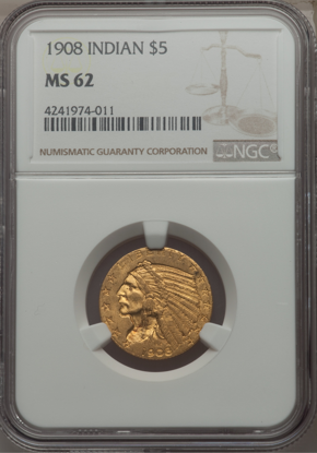 Picture of (1908-1929) $5 Indian Gold PCGS/NGC MS62 (Random Year)