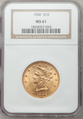 Picture of (1866-1907) $10 Liberty Gold PCGS/NGC MS61 (Random Year)