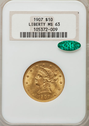 Picture of (1866-1907) $10 Liberty Gold PCGS/NGC MS63 CAC (Random Year)