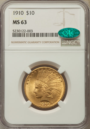 Picture of $10 Indian Gold (1907-1933) PCGS/NGC MS63 CAC (Random Year)