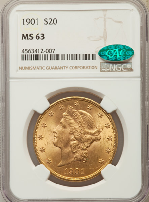 Picture of (1849-1907) $20 Liberty Gold PCGS/NGC MS63 CAC (Random Year)