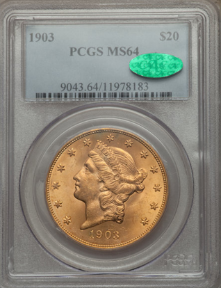 Picture of (1849-1907) $20 Liberty Gold PCGS/NGC MS64 CAC (Random Year)