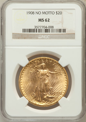 Picture of 1908 No Motto $20 Saint Gaudens PCGS/NGC MS62