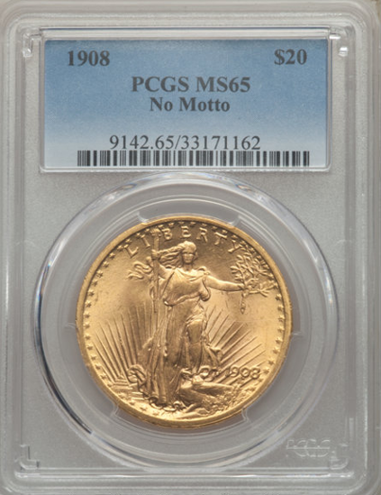 Picture of 1908 No Motto $20 Saint Gaudens PCGS/NGC MS65