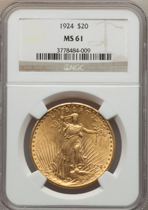 Picture of (1908-1933) $20 Saint Gaudens With Motto PCGS/NGC MS61