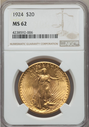 Picture of (1908-1933) $20 Saint Gaudens With Motto PCGS/NGC MS62
