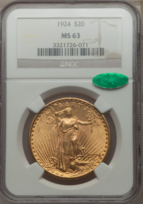 Picture of (1908-1933) $20 Saint Gaudens With Motto PCGS/NGC MS63 CAC