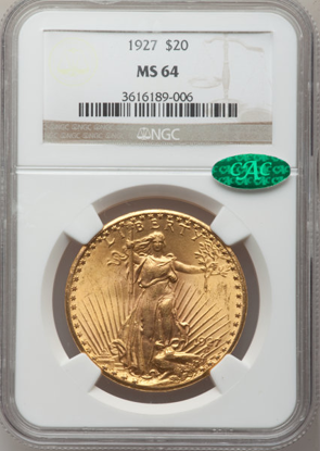 Picture of $20 Saint Gaudens With Motto (1908-1933) PCGS/NGC MS64 CAC