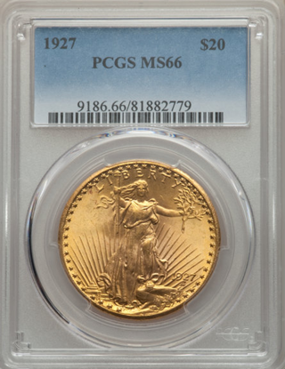 Picture of (1908-1933) $20 Saint Gaudens With Motto PCGS/NGC MS66