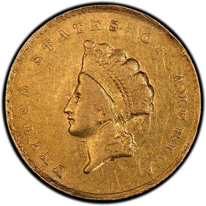 Picture of (1854-1856) $1 Gold  Indian Head Type 2 VF (Random Year)