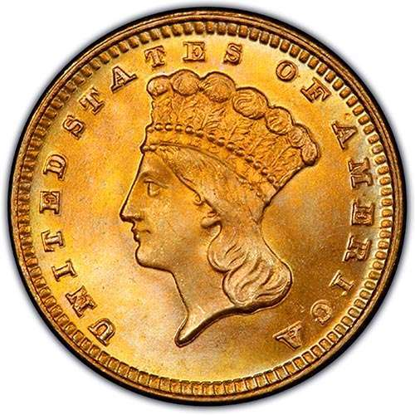 Picture of $1 Gold  Indian Head Type 3 BU (1856-1889) (Random Year)