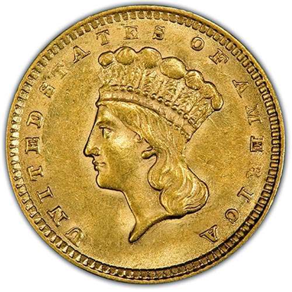 Picture of $1 Gold Indian Head Type 3 AU (1856-1889) (Random Year)