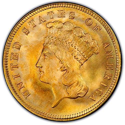 Picture of (1854-1889) $3 Gold Princess BU (Random Year)