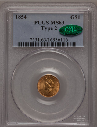 Picture of (1854-1856) $1 Indian Head Gold Type 2 PCGS/NGC MS63 CAC (Random Year)