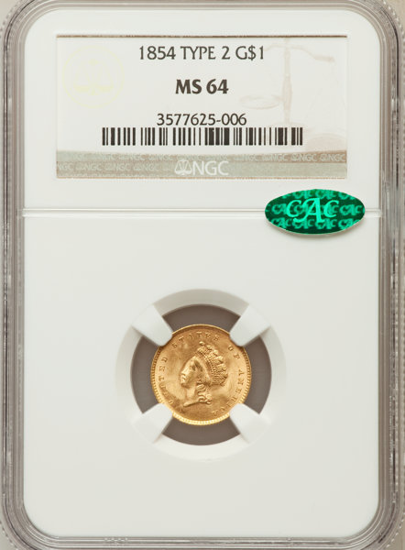 Picture of (1854-1856) $1 Indian Head Gold Type 2 PCGS/NGC MS64 CAC (Random Year)