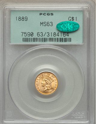 Picture of (1856-1889) $1 Indian Head Gold Type 3 PCGS/NGC MS63 CAC (Random Year)