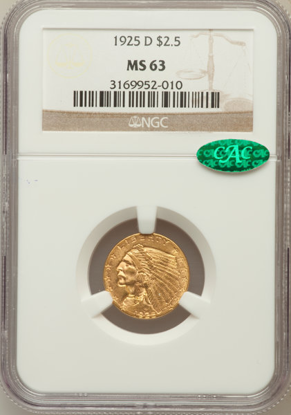 Picture of (1908-1929) $2.50 Indian Gold PCGS/NGC MS63CAC (Random Year)