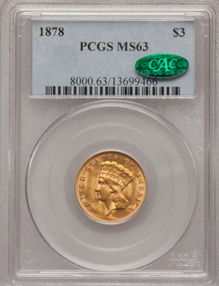 Picture of $3 Gold Princess (1854-1889) PCGS/NGC MS63 CAC (Random Year)