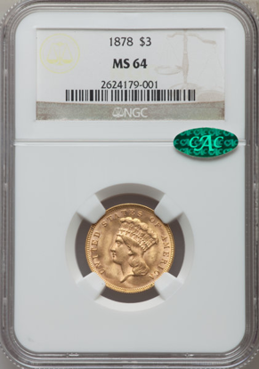 Picture of (1854-1899) $3 Gold Princess PCGS/NGC MS64 CAC (Random Year)
