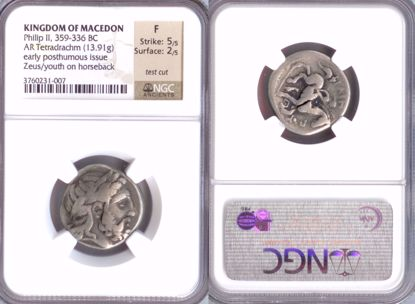 Picture of 359-336 BC Kingdom of Macedon, Phillip II, AR Tetradrachm F Strike 5/5 Surface 2/5 NGC