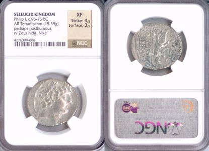 Picture of 95-75 BC Seleucid Kingdom, Philip I, AR Tetradrachm XF Strike 4/5 Surface 3/5 NGC